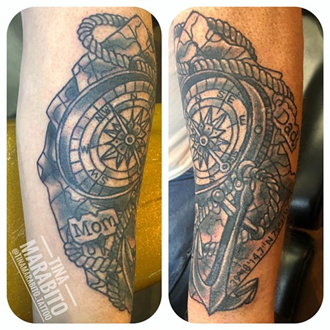 Black and Gray Compass, Map and Anchor Tattoo