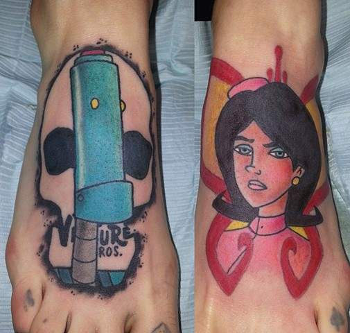 Venture Bros. H.E.L.P.E.R. and Dr. Girlfriend Foot Tattoos