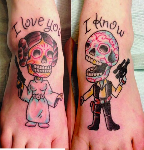 Han Solo and Princess Leia Sugar Skulls Foot Tattoo