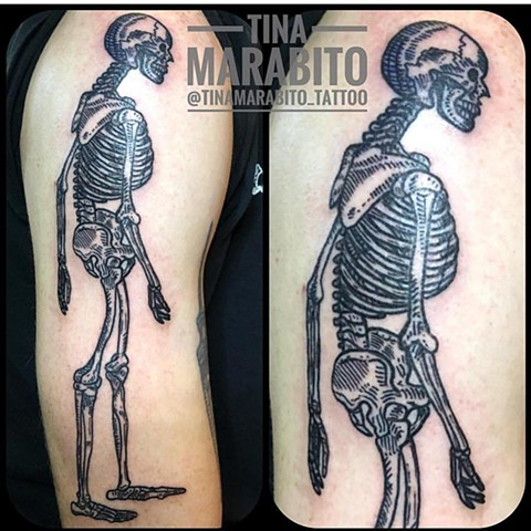 Anatomical Woodcut Skeleton Tattoo
