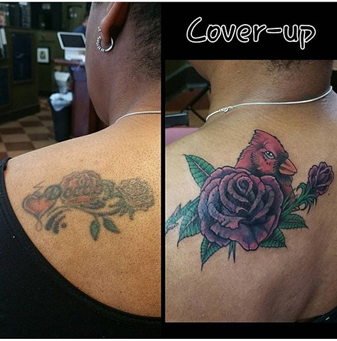 Purple Rose and Cardinal Bird Tattoo Cover-up - Eric Hendrickson