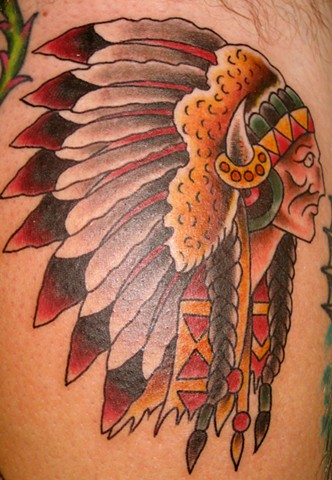 Traditional Indian Head Tattoo