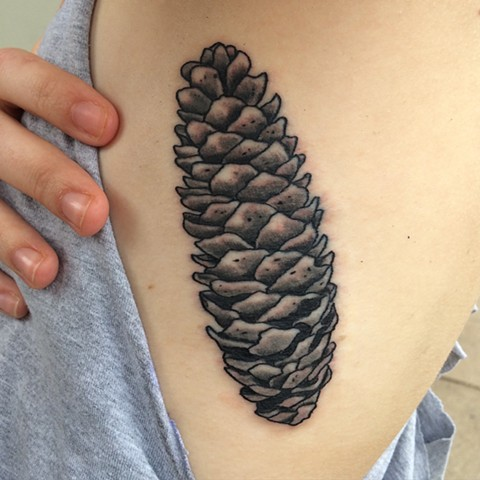 Black and Gray Pinecone Tattoo