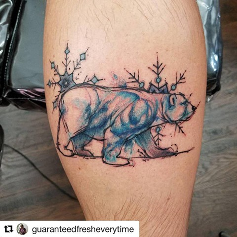 Watercolor Polar Bear and Snowflake Tattoo