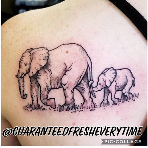 Black and Grey Elephant Tattoo