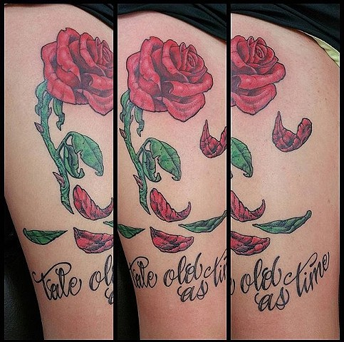 Beauty and the Beast Wilting Rose Tattoo