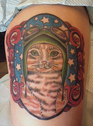 Aviator Kitty Thigh Tattoo (Phillip the gravity defying feline from Jersey!!)