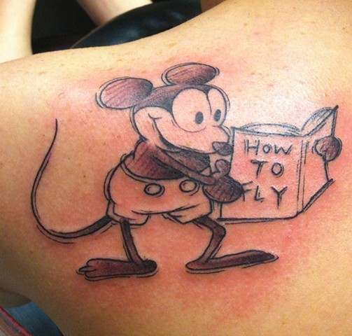 """How To Fly"" Vintage Sketch Mickey Mouse Tattoo"