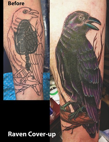 Raven Forearm Cover-up Tattoo : originally the black mirror -First Session