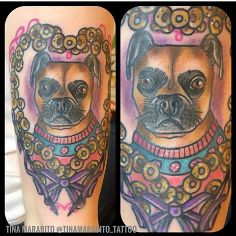 Neotraditional Pet Portrait Tattoo