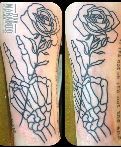 Skeleton Hand and Rose Outline Tattoo