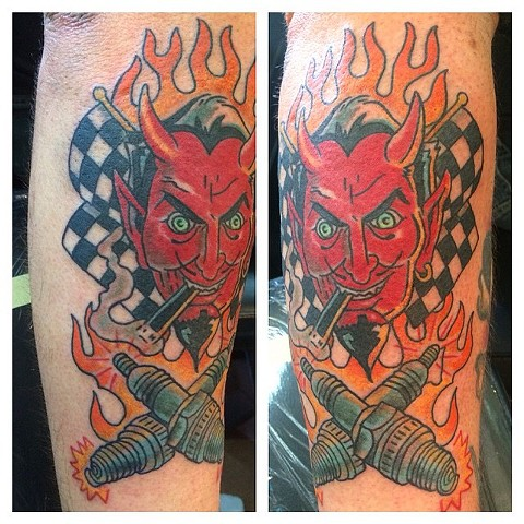 Coop Devil with Crossed Spark Plugs Tattoo