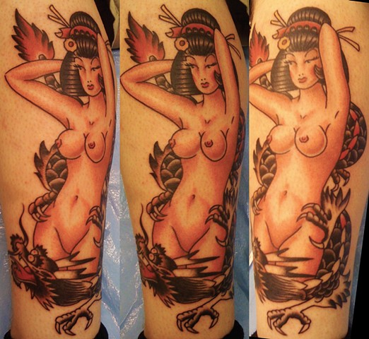 Geisha Pin Up and Dragon Tattoo