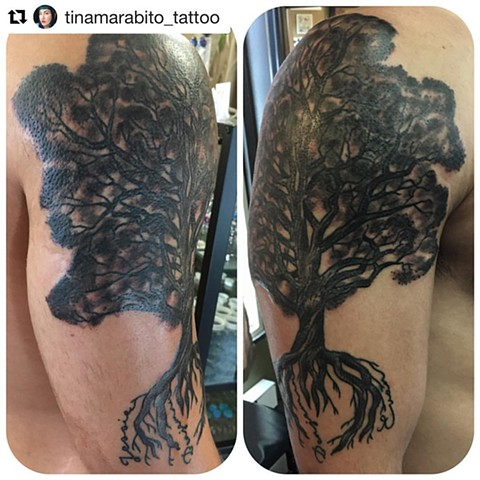 Black and Grey Family Tree Coverup Tattoo