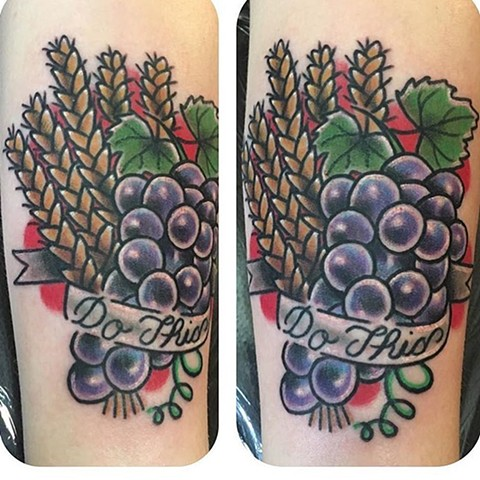 Traditional Wheat and Grapes Tattoo
