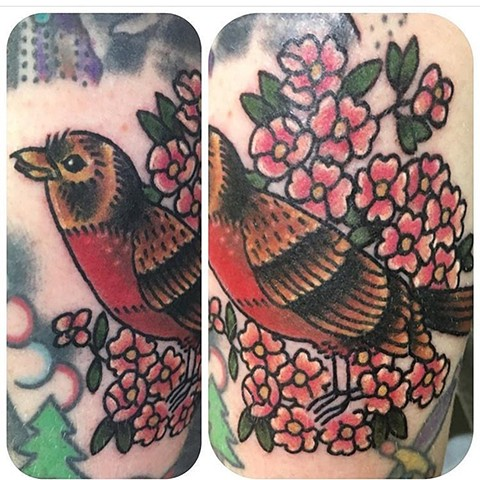 Traditional American Robin Filler Tattoo