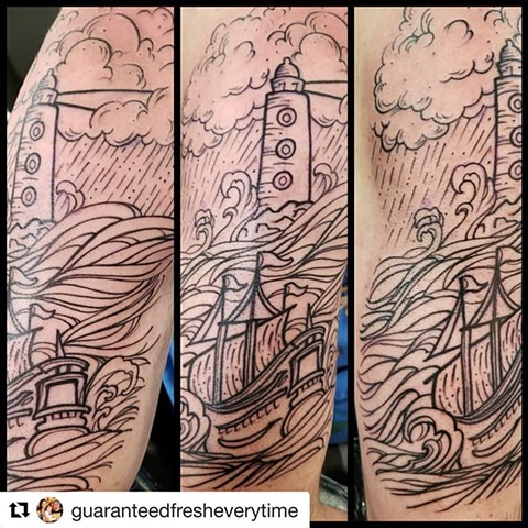 Stormy Seas Boat and Lighthouse Woodcut Tattoo