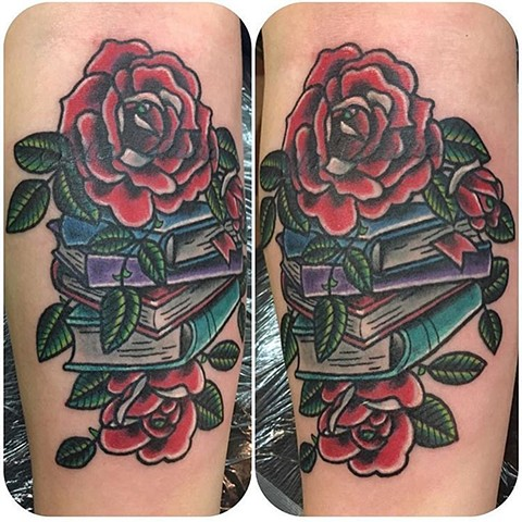 Traditional Roses and Books Coverup Tattoo