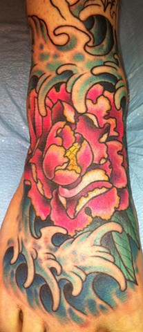 Waves and Flower Foot Tattoo