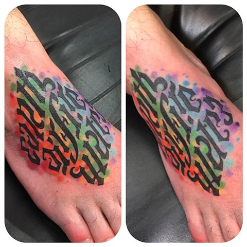 Ambigram Rainbow Foot Tattoo