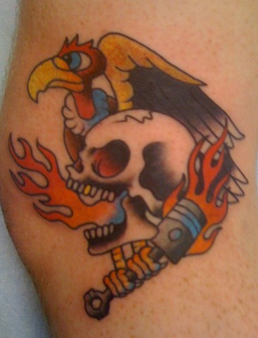 Traditional Skull, Piston and Vulture Tattoo