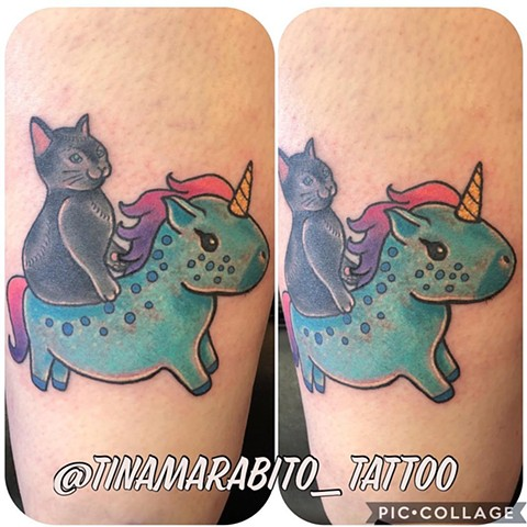 Cat and Unicorn Tattoo