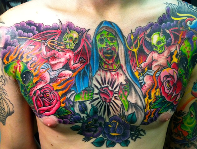Zombie Virgin Mary Chest Tattoo