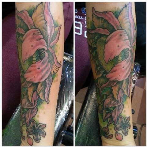 Botanical / Flower Tattoo on Forearm