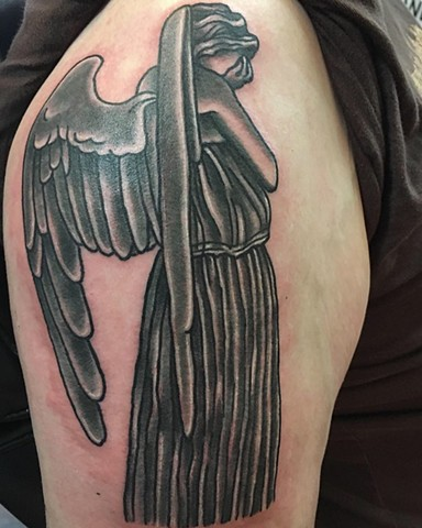 Traditional Black and Gray Dr Who Weeping Angel Tattoo