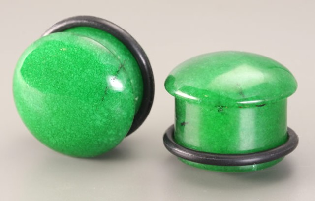 Green Stone Top Hat Plugs