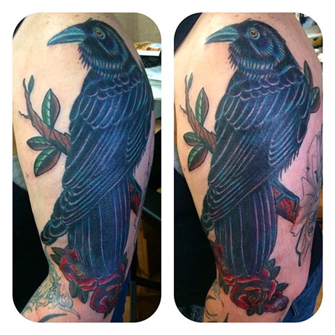 Raven and Roses Tattoo Cover-Up