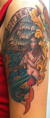 Mermaid with Anchor, Ship and Music Traditional Tattoo