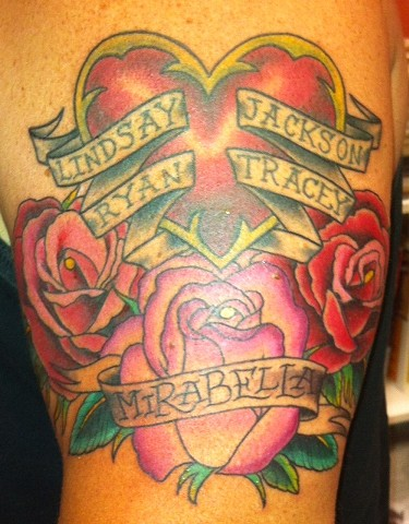 Roses, Heart and Banner Tattoo