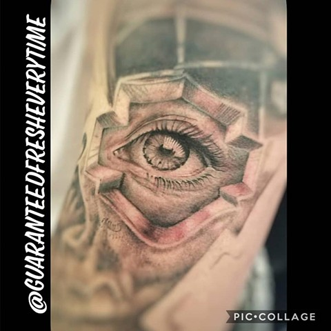 Realistic Black and Grey Eye Tattoo