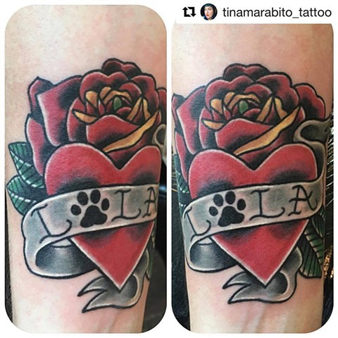 Traditional Heart and Roses Cat Paw Print Tattoo