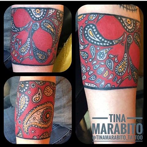 Red Paisley Skull Armband Tattoo