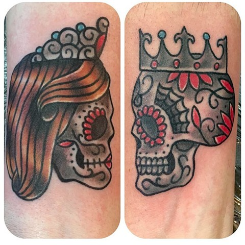 Traditional Matching King and Queen Sugar Skull Tattoo