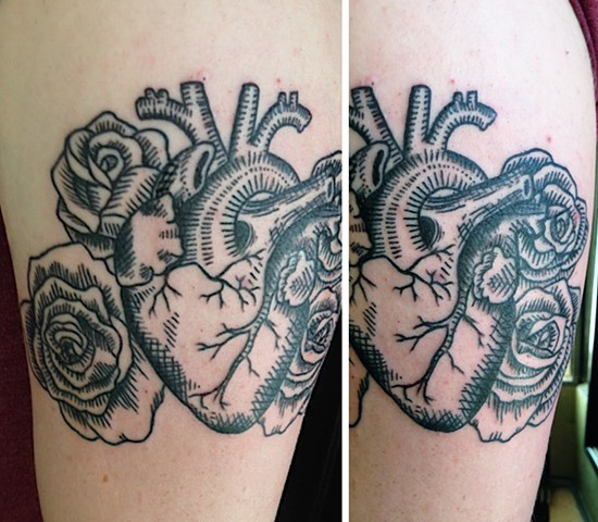 Anatomical Heart and Roses Woodcut Tattoo