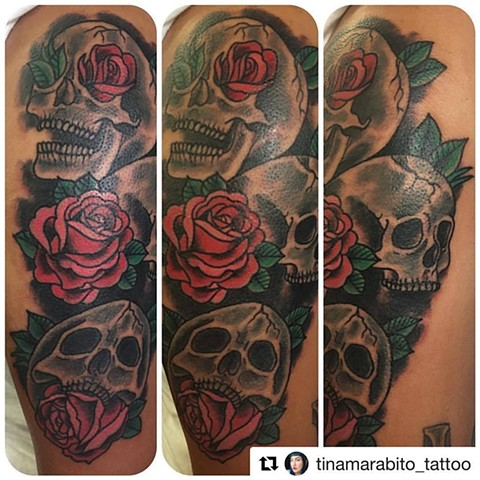 Traditional Skulls and Roses Tattoo