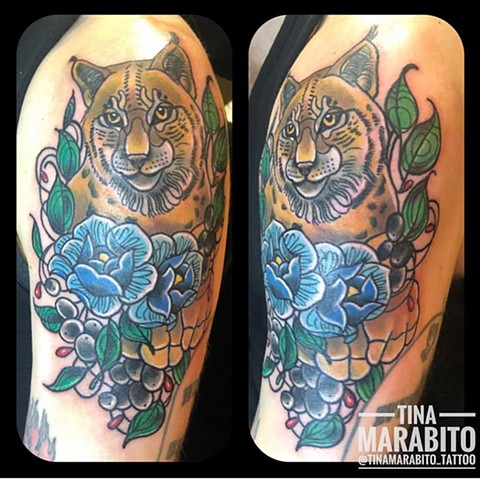 Neotraditional Canadian Lynx Tattoo