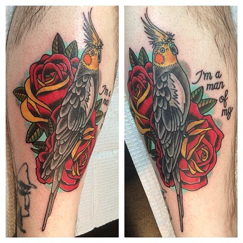Cockatiel, crown of thorns and roses tattoo