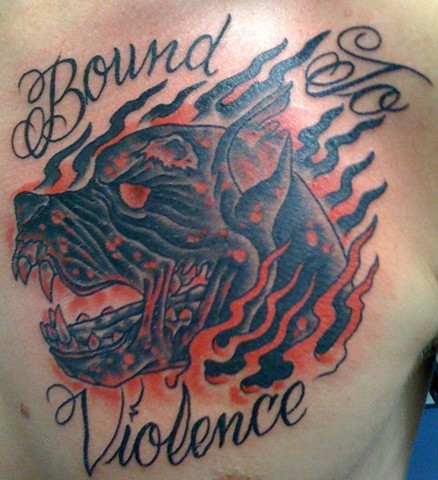 """Bound To Violence"" Hell Dog Tattoo"