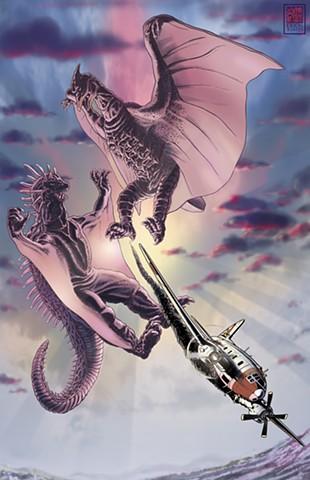Varan Rodan radon pin-up Godzilla
