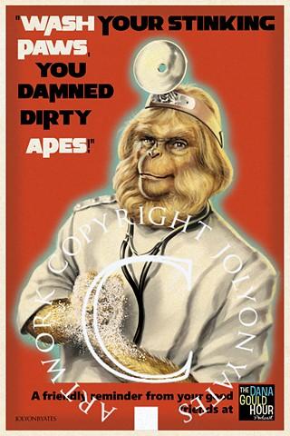 Dr Zaius Dana Gould Retro medical poster COVID 19 Corona Virus
