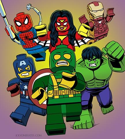 Lego Marvel Superheroes Spider-man Captain America Hydra Hulk Spider-woman Iron Man