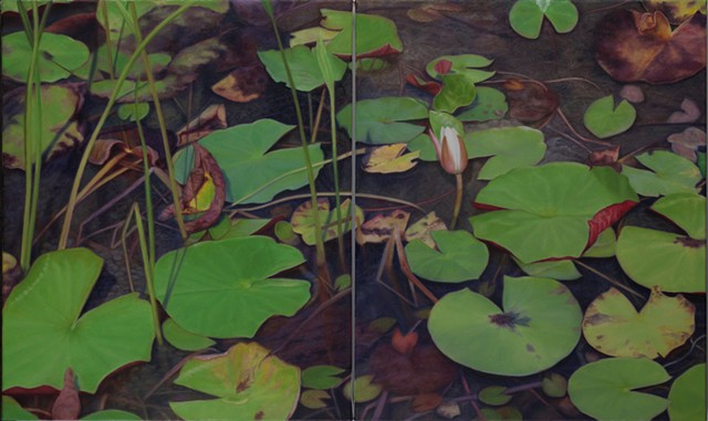 "Water Lilies IV, 2012, Oil on 2 canvases, 24"" x 40"""