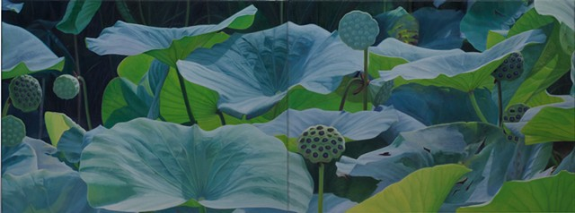 "Lotus Seed Pods, 2012, Oil on 2 canvases, 18"" x 48"""