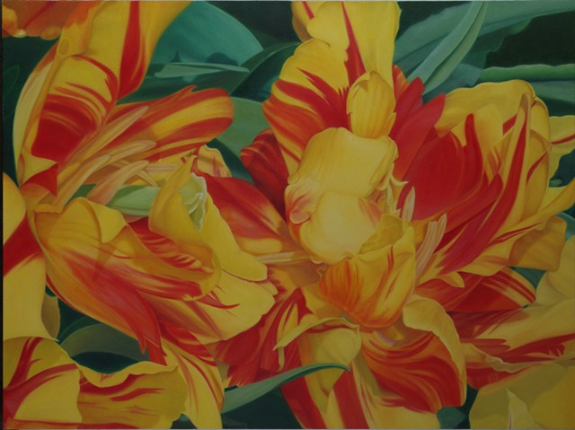 "Parrot Tulips, 2012, Oil on canvas, 30"" x 40"""