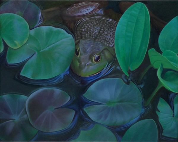 "Frog and Water Lilies, 2011, Oil on canvas, 16"" x 20"""