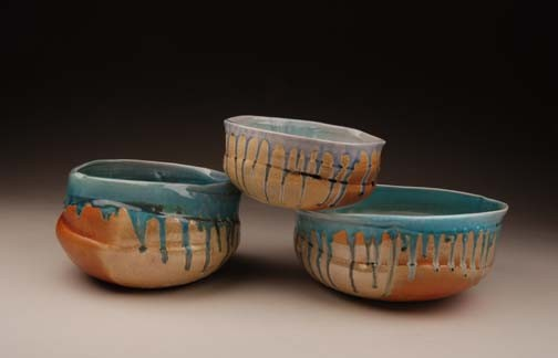 sand and sea bowls, salt fired porcelain